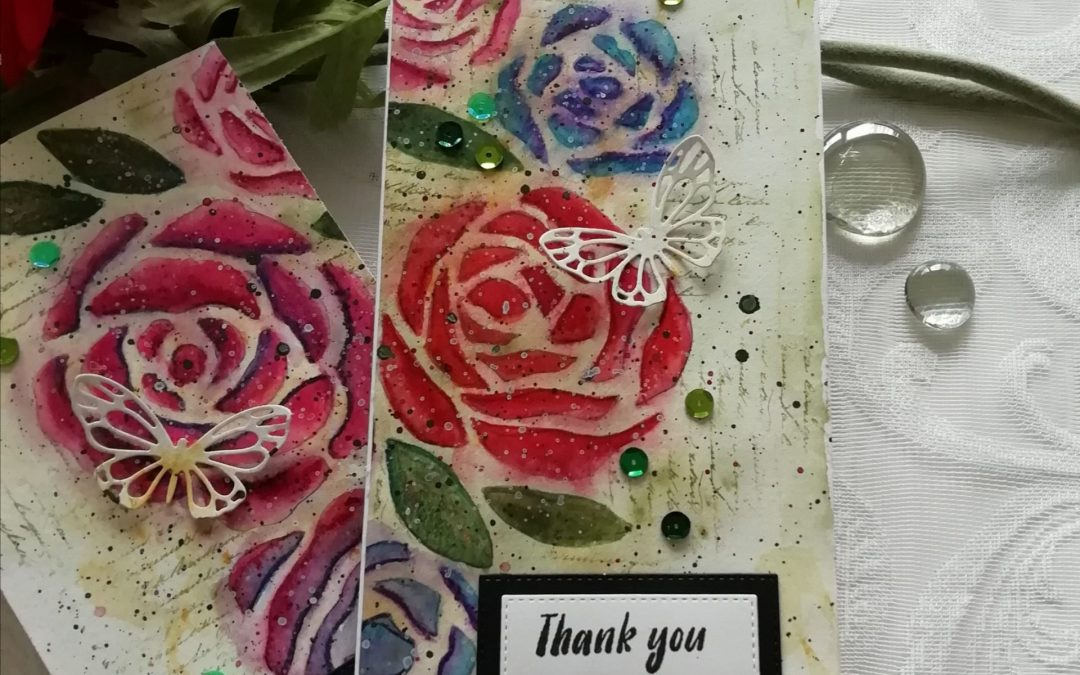 Roses mixed media thank you cards