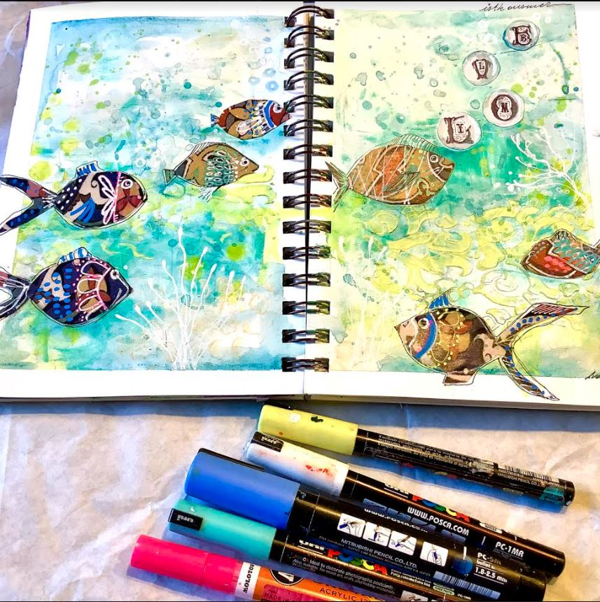 art journal with markers