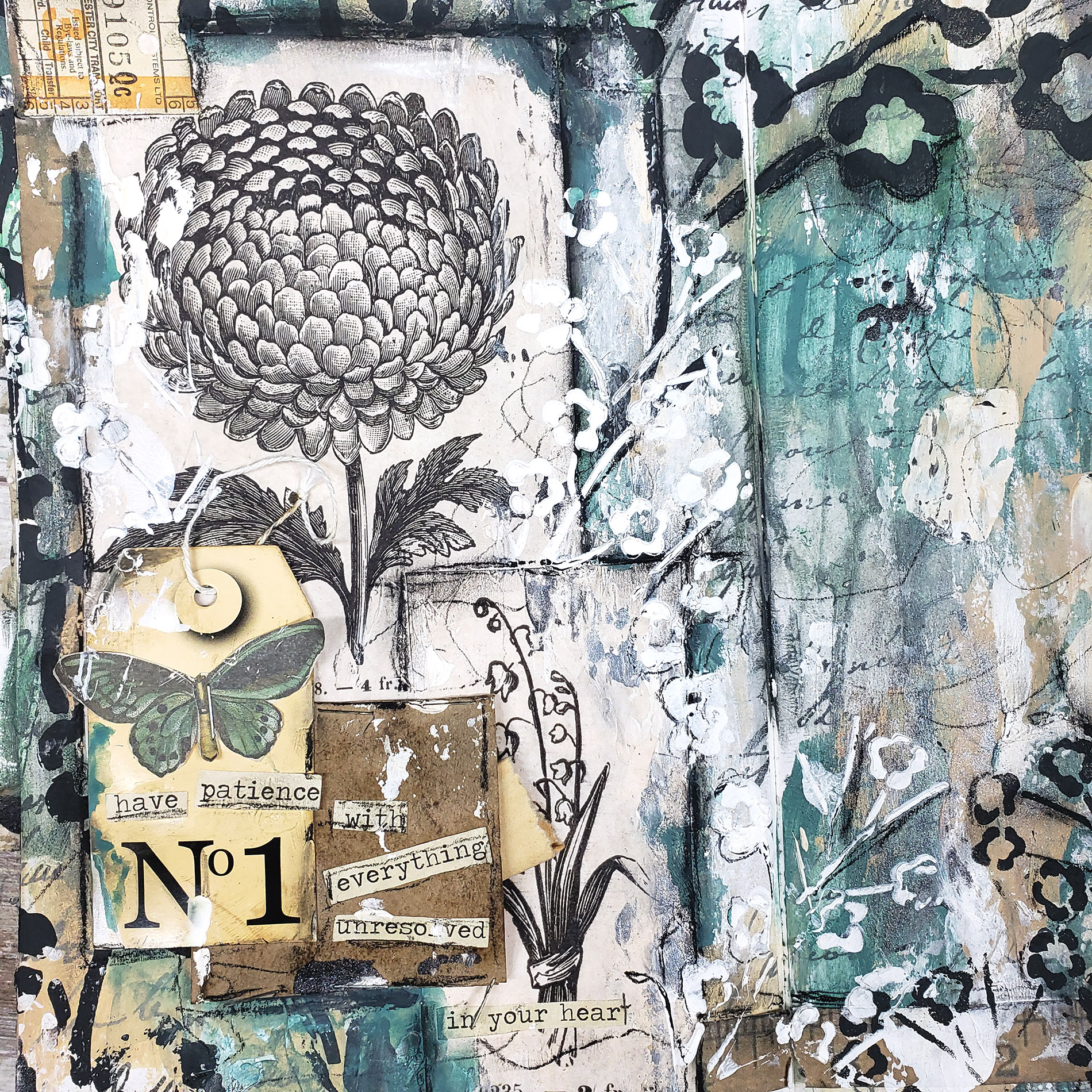mixed media journal page with a pocket