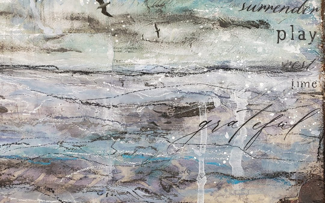 Resting with the water – Mixed media landscape