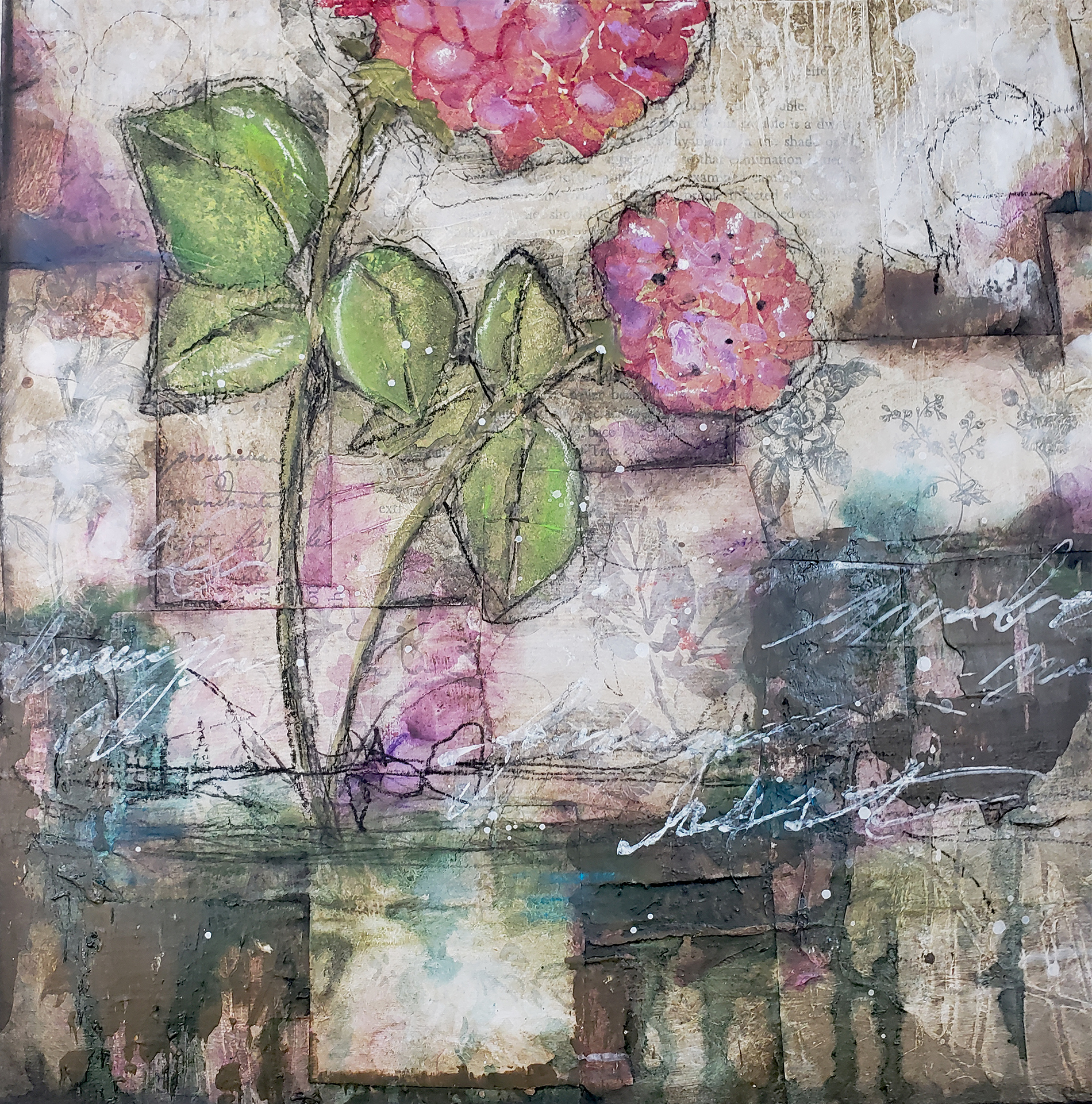 mixed media floral hydrangea by shawn Petite
