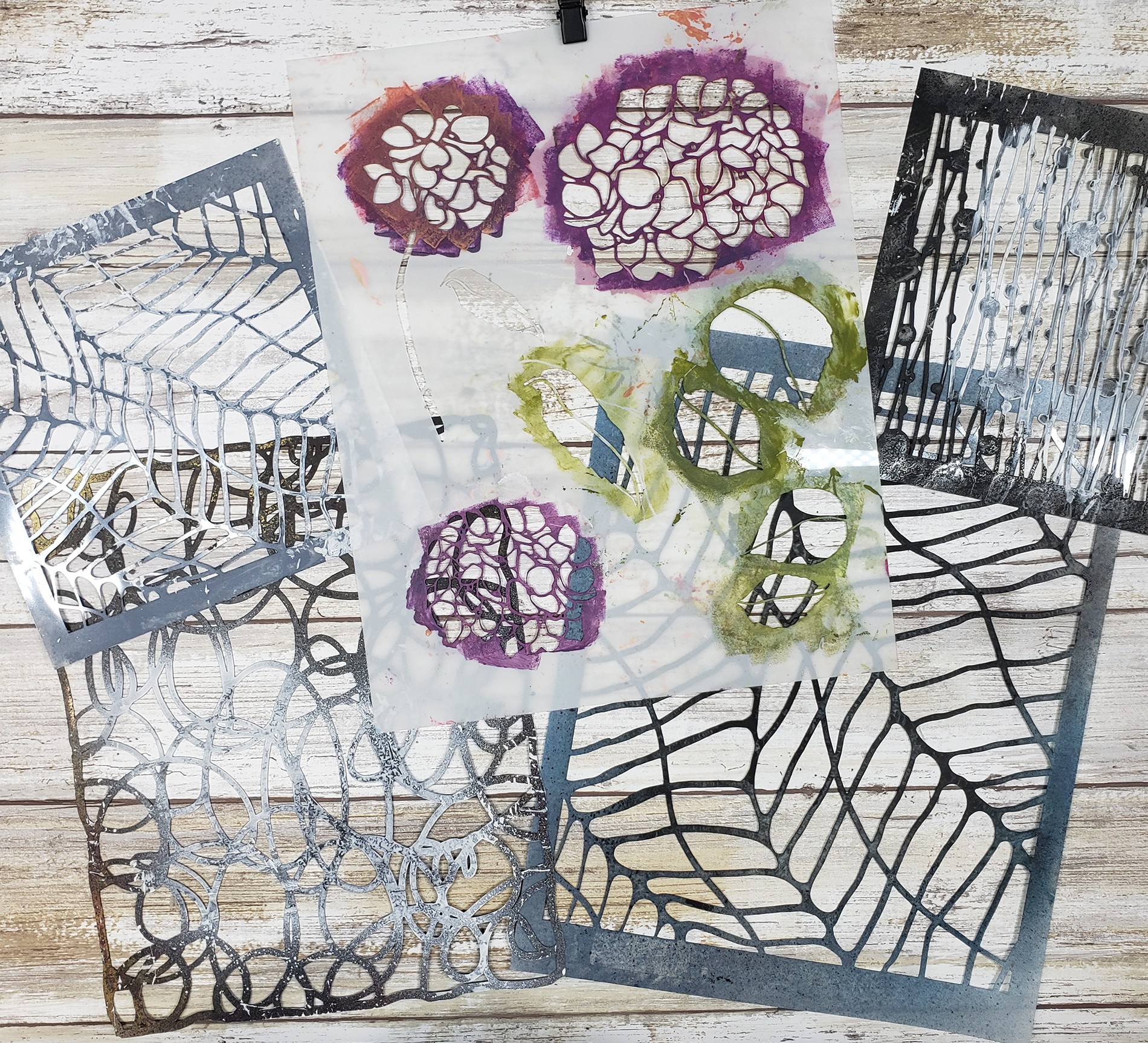 stencils used for mixed media floral hydrangea by shawn Petite