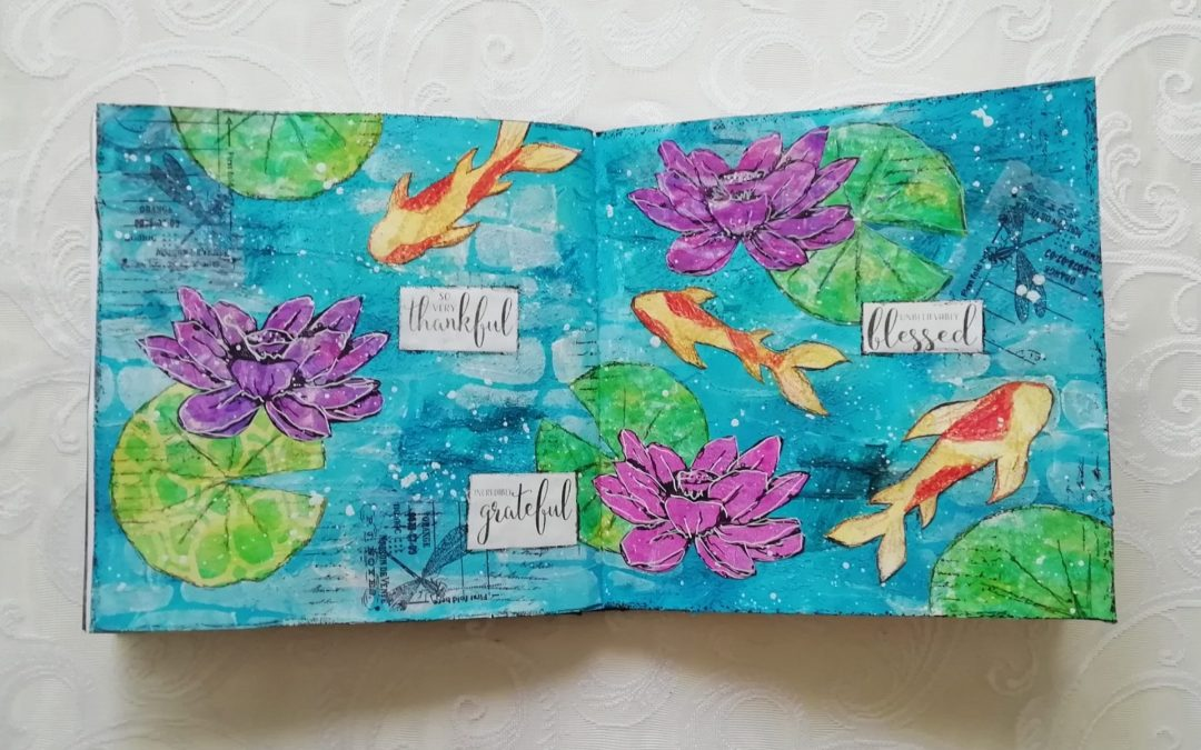 Mixed media Thankful, Grateful, Blessed Art Journal