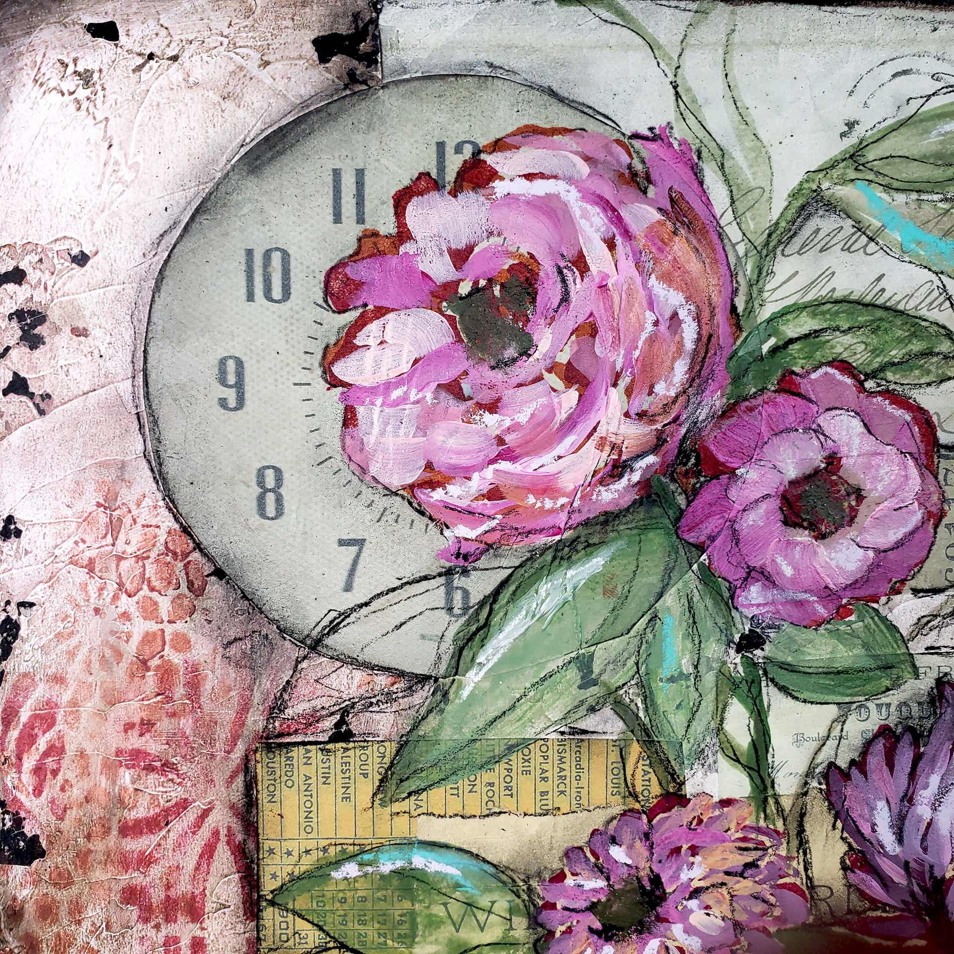 Close up of mixed media floral