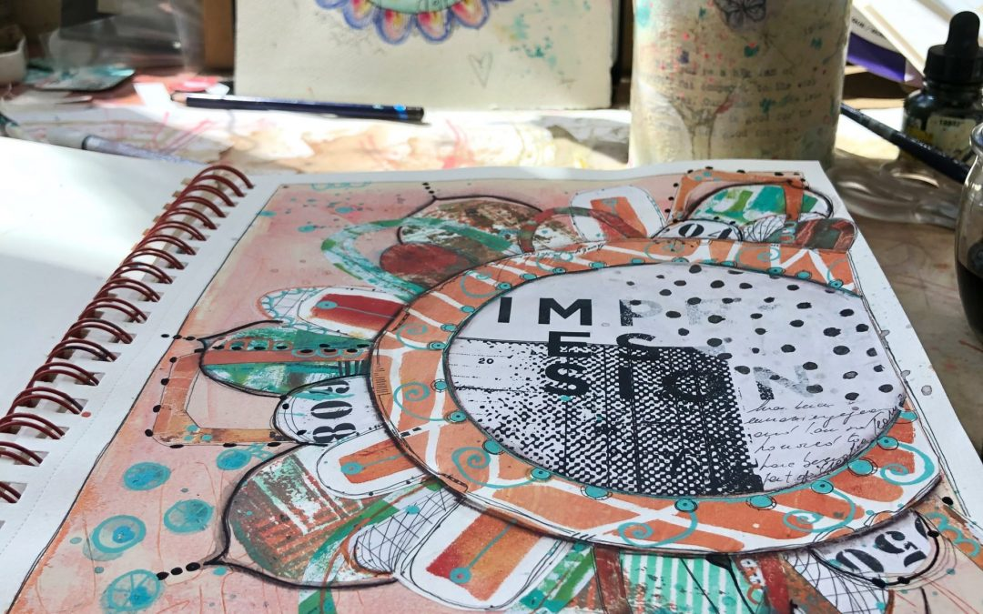Mandala Impression mixed media journal page