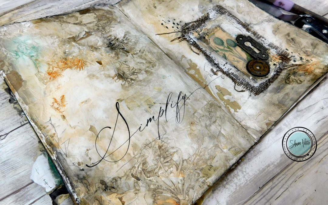 Simplify textured journal page with texture paste, gesso and stenciling 8-15-21
