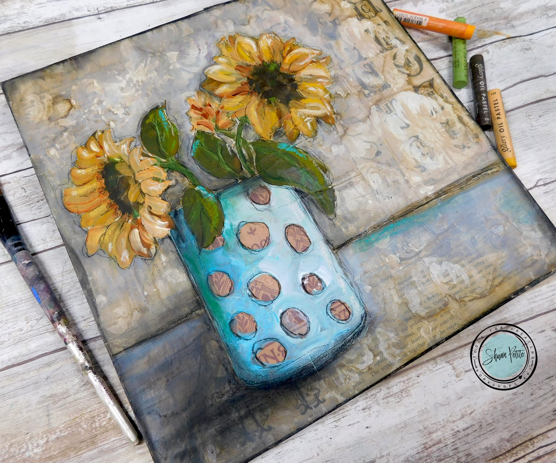 Close up of mixed media sunflowers in vase