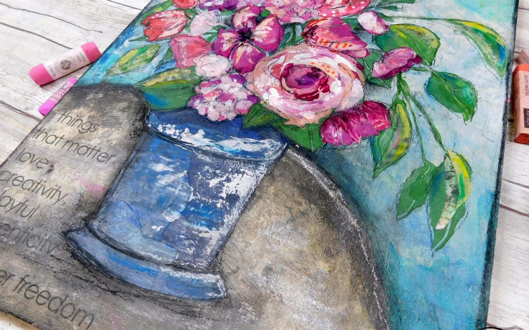 Playful mixed media floral with collage, pastels and acrylic